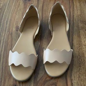 Leather scalloped peep-toe flats
